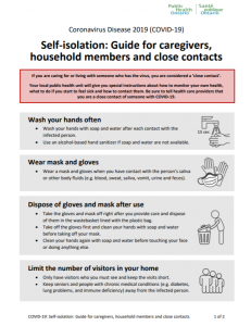 Self-Isolation Guide for Caregivers, Household Members, and Close Contacts Info