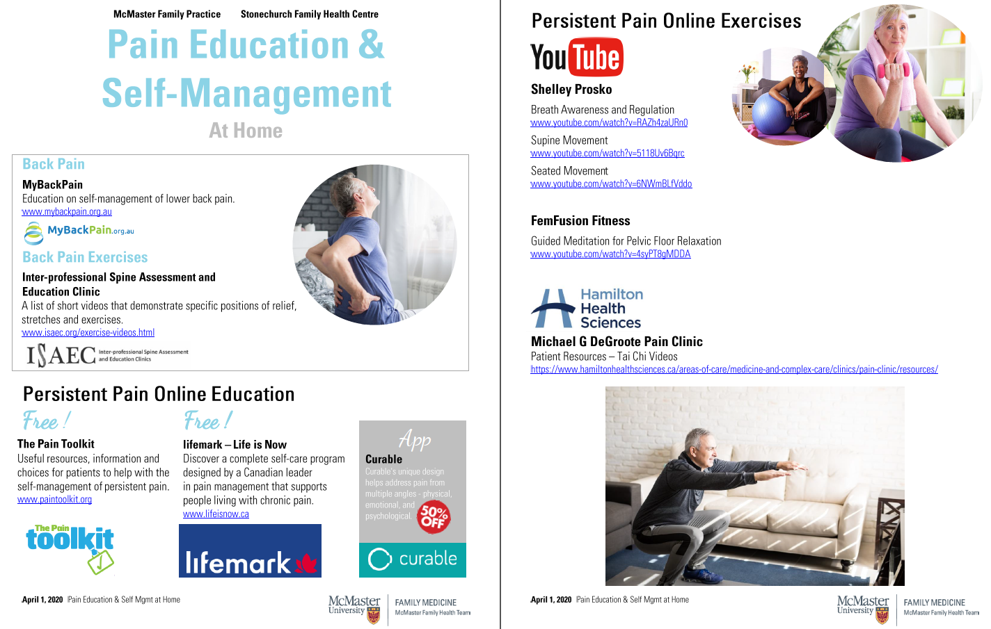 Pain Education and Self Management at Home Resources