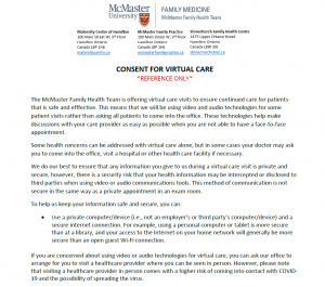 Consent for Virtual Care